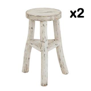 Set de 2 tabourets ronds BYZO en bois blanc délavé.