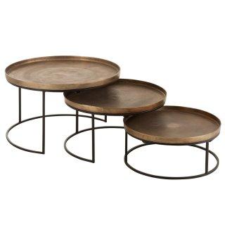 Set de 3 tables gigognes ronde ROUK en aluminium cuivré et métal noir