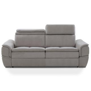 Canapé lit SALTILLO convertible 140cm ouverture RAPIDO matelas 15cm tissu nubucka gris clair