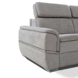 Canapé lit SALTILLO convertible 140cm EXPRESS matelas 16cm nubucka gris clair