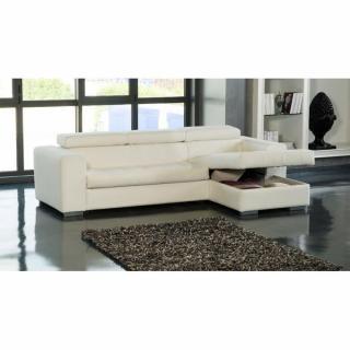 Canapé d'angle droit SAMUEL convertible lit gigogne en tissu polyuréthane simili façon cuir blanc + méridienne coffre