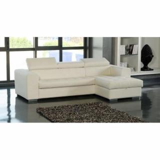 Canapé d'angle droit SAMUEL convertible lit gigogne en tissu polyuréthane simili façon cuir noir + méridienne coffre