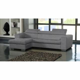 Canapé d'angle gauche SAMUEL convertible lit gigogne en tissu polyuréthane simili façon cuir gris + méridienne coffre