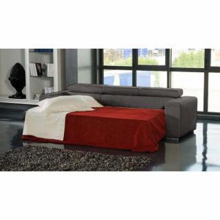 Canapé d'angle gauche SAMUEL convertible lit gigogne en tissu polyuréthane simili façon cuir marron+ méridienne coffre
