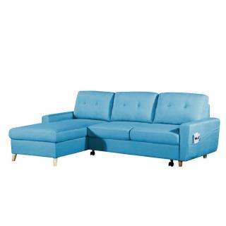 Canapé d'angle gigogne gauche convertible express SARSINA tissu tweed bleu azur