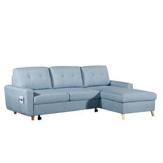 Canapé d'angle gigogne droite convertible express SARSINA tissu tweed bleu ciel