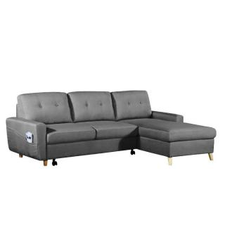 Canapé d'angle gigogne droite convertible rapido SARSINA tissu tweed gris graphite