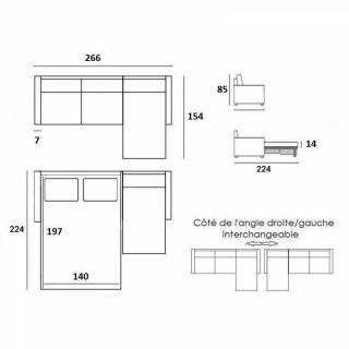 Canapé d'angle SCANDINAVE 120 cm convertible RAPIDO couchage quotidien 16 cm
