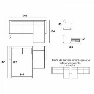 Canapé d'angle SCANDINAVE convertible RAPIDO couchage quotidien 14cm