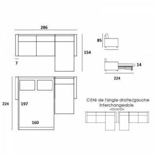 Canapé d'angle SCANDINAVE matelas 14cm système express sommier lattes 160cm RENATONISI