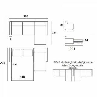 Canapé d'angle SCANDINAVE matelas 14cm système rapido sommier lattes 120cm RENATONISI