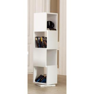 SHELL étagère bliothèque design rotative blanche mate 4 niveaux