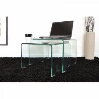 Bouts de canapes tables et chaises side gigogne transparente 2 tables verre - Table gigogne transparente ...