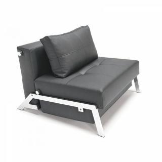 INNOVATION LIVING Fauteuil lit design SOFABED CUBED tissu enduit noir convertible 200cm