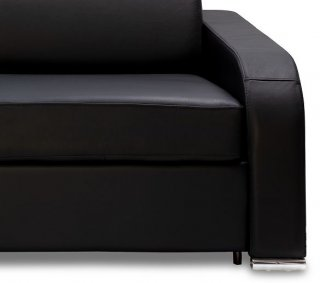 Canapé express 140 cm SOFIA EDITION Cuir et PU Cayenne noir matelas 16 cm