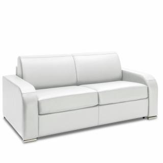 Canapé express 140 cm SOFIA EDITION Cuir et PU Cayenne blanc matelas 16 cm