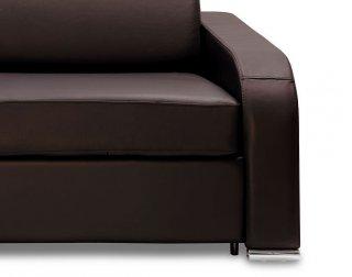 Canapé express 140 cm SOFIA EDITION Cuir et PU Cayenne marron matelas 16 cm