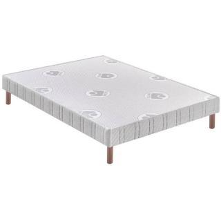 BULTEX Sommier tapissier confort ferme avec pieds en bois vernis clair