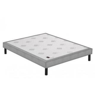 Sommier tapissier EPEDA piqué gris clair confort ferme à lattes longueur couchage 190cm