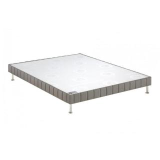 BULTEX Sommier tapissier CONFORT MEDIUM 3 ZONES en tissu tissé gris souris