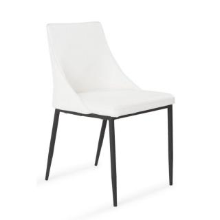 Chaise design HESTIA en tissu enduit polyuréthane simili façon cuir blanc