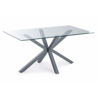Table repas MAREK en verre piétement en acier laqué gris