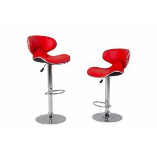 Lot de 2 chaises de bar NANTES en tissu enduit polyuréthane simili façon cuir rouge