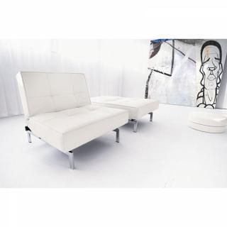 Fauteuil lit design SPLITBACK CHROME blanc Leather Look White convertible 90*115 cm