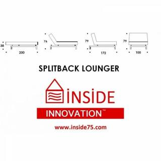 INNOVATION LIVING Meridienne design SPLITBACK LOUNGER gris convertible lit 100*200cm