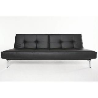 Canape lit design SPLITBACK Chrome noir Leather Look_Black convertible 115*200 cm piétement inox
