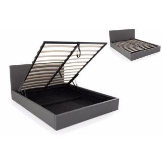 Lit coffre haut de gamme STONA couchage 160*200 cm similicuir gris