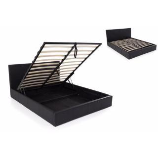 Lit coffre haut de gamme STONA couchage 160*200 cm similicuir noir