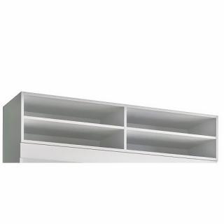 Surmeuble 4 niches de rangements pour lit escamotable LUTECIA 140cm Hauteur 25 cm blanc