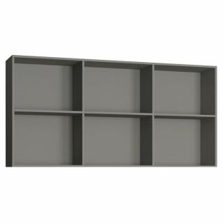 Surmeuble 6 niches de rangements pour lit escamotable horizontal 90 x 200 cm Hauteur 106 cm finition gris mat
