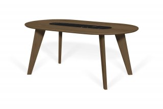 Table à manger ovale design LAGO Noyer/insert marbre noir