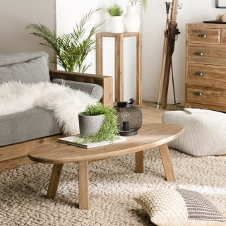 Table Basse ovale SANDY Scandinave  en bois Pin recyclé