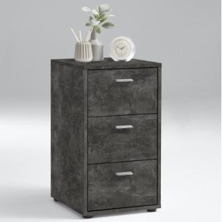 Chevet 3 tiroirs design VIENNE finition gris béton