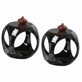Lot de 2 tables d'appoints design NONO en ABS noir brillant
