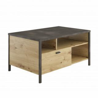 Table d'appoint INOUI chêne artisan et acier foncé