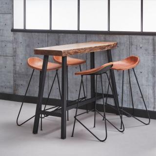 Table de bar 125*46 cm SPLIT style industriel en acier et bois d'acacia