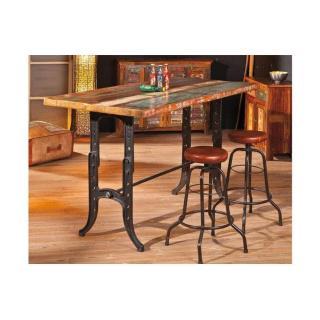 Table bar unique AMARELO en bois de manguier et acier
