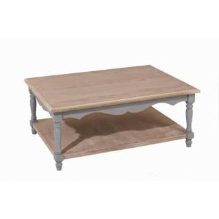 Table Basse CASSIE en Bois Gris Style Baroque