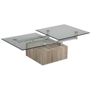 Table basse TREE en verre transparent plateaux pivotants