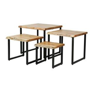 Lot de 4 tables basses EDGE en acacia massif