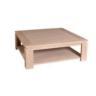 Table basse carrée 90 x 90 cm INES style colonial en teck blanchi