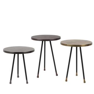 Lot de 3 tables basses ALIM pied en laiton