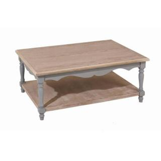 Table basse 1 tablette CASSIE en bois de paulownia style baroque