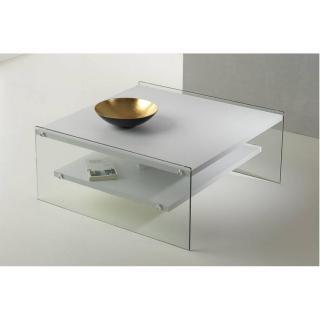 Table basse BELLA 2 plateaux blanc mat piétement en verre