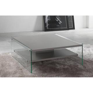 Table basse BELLA 2 plateaux gris  piétement en verre