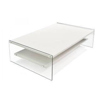 Table basse rectangle BELLA 2 plateaux blanc mat piétement en verre